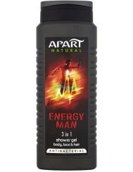 Apart Natural Energy Man Męski Antybakteryjny Żel pod Prysznic do Ciała, Twarzy i Włosów 3w1 500 ml