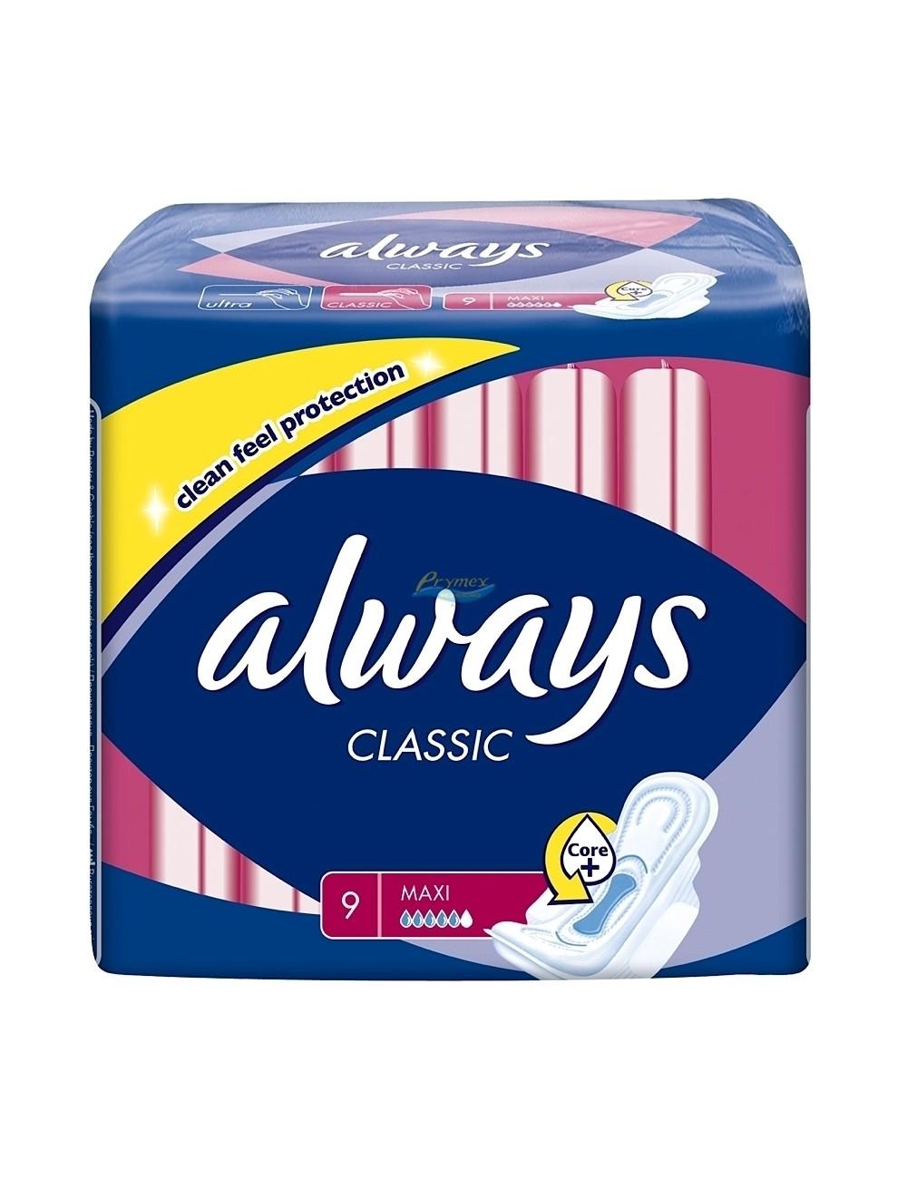 Always classic maxi 9 sztuk – podpaski higieniczne ze skrzydełkami