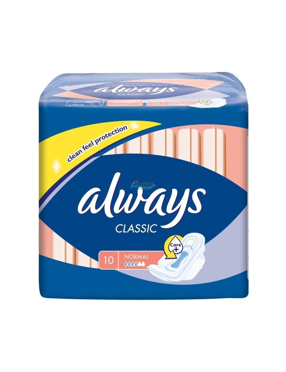 Always classic normal 10 sztuk - podpaski higienicznie ze skrzydełkami