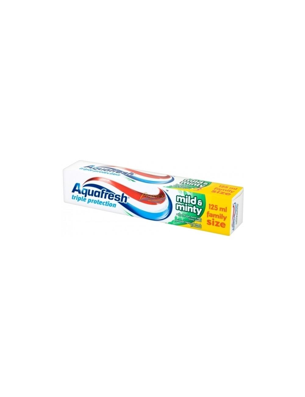 Aquafresh Triple Protection Mild&Minty Pasta do Zębów Potrójna Ochrona Delikatnie Miętowy Smak 125 ml