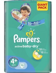 Pampers Active Baby-Dry Giant Pack Pieluchy dla Dzieci 4+ Maxi 9-16 kg (70 szt)