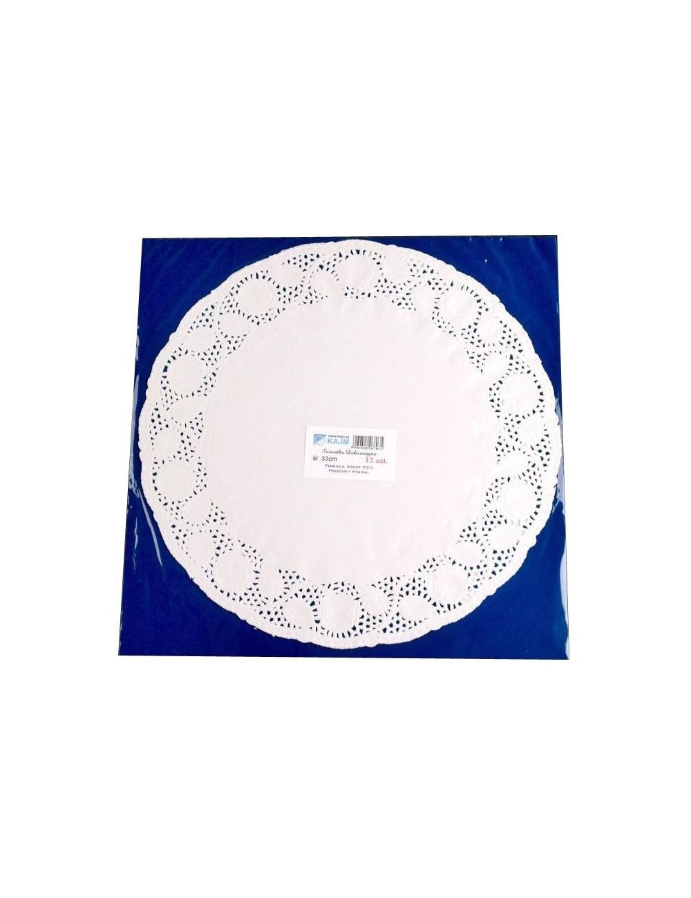 Serwetki Dekoracyjne fi 33cm 12 sztuk – papierowe, pod tort