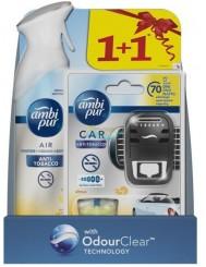 Ambi Pur Car Anti-Tobacco Zestaw Samochodowy Odświeżacz Powietrza 7 ml + Odświeżacz w Sprayu 300 ml
