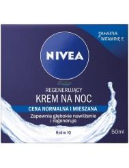 Nivea Regenerujący Krem na Noc z Witaminą E i Hydra IQ dla Cery Normalnej i Mieszanej 50 ml