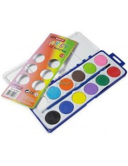 Farby Wodne (12 kolorów) + Pędzelek do Malowania 1 szt