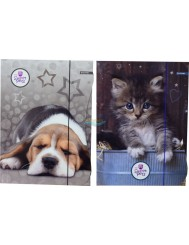 Teczka A4 z Gumką Różne Wzory Sweet Pets Kot lub Piesek 1 szt