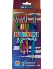 Kredki Ołówkowe z Gumką 12 Kolorów
