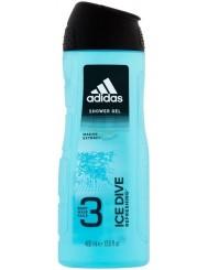 Adidas Ice Dive Refreshing Żel pod Prysznic do Ciała, Włosów i Twarzy dla Mężczyzn 400 ml