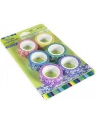 Taśma Papierowa Ozdobna Samoprzylepna Mix Kolorów Kwiatki 6 szt (15 mm x 5 m)