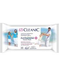 Cleanic Antibacterial Travel Pack Nawilżane Chusteczki Odświeżające z Płynem Antybakteryjnym 40 szt
