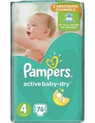 Pampers Active Baby-Dry Rozmiar 4 (8-14 kg) Pieluszki Jednorazowe 76 szt