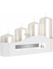 Bispol Candles Świece Walce Białe Perłowe (wysokość 7, 9, 11, 13 cm ) 4 szt