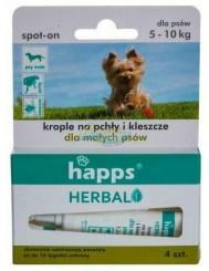 Happs Herbal Spot-On Krople na Pchły i Kleszcze dla Małych Psów 5-10 kg (4 x 1,5 ml)