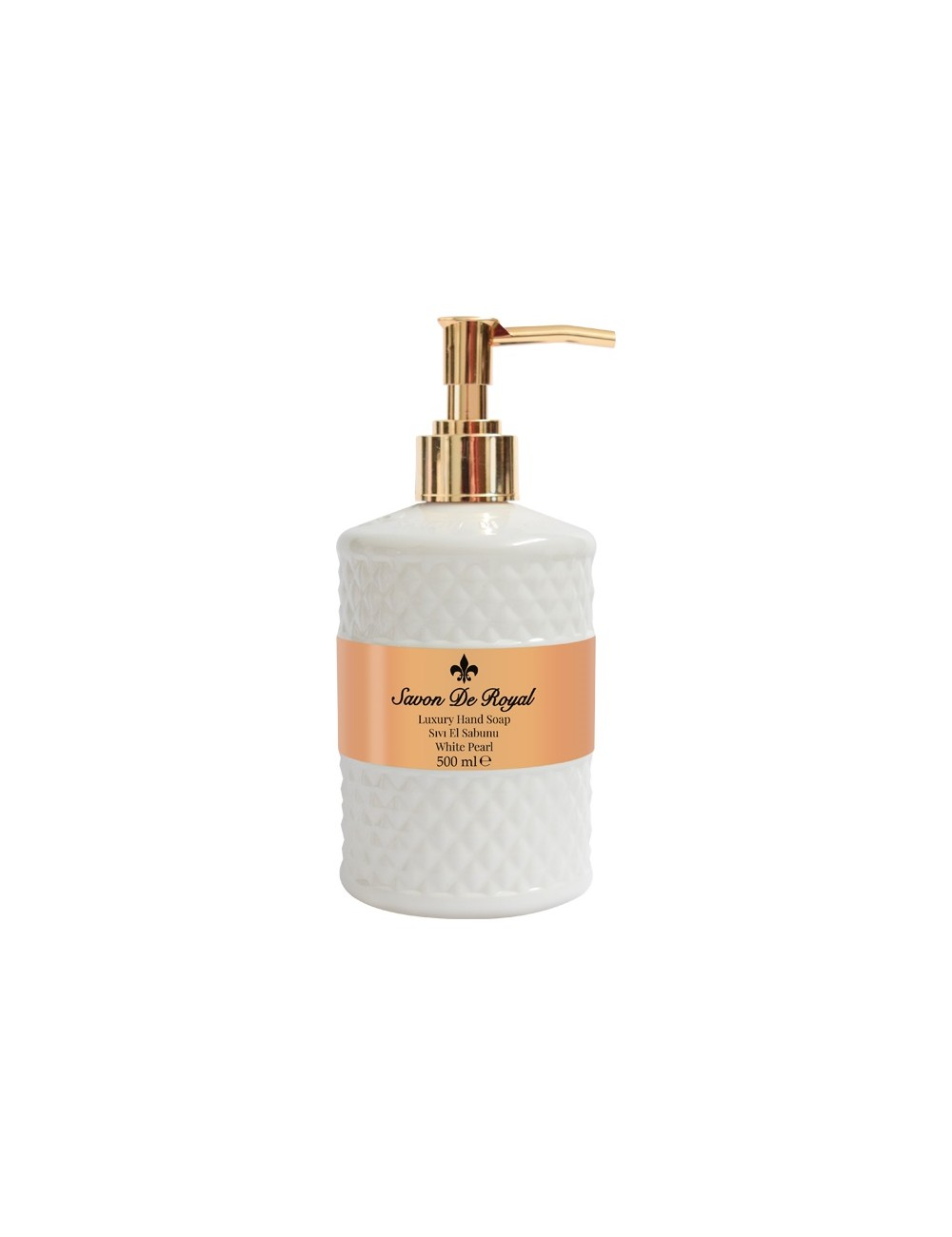 Savon de Royal White Pearl Mydło w Płynie Wysokiej Jakości z Pompką Białe 500 ml (72 procent mydła marsylskiego)