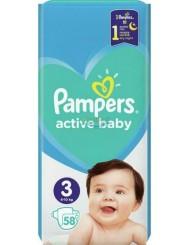 Pampers Active Baby Rozmiar 3 (6-10 kg) Pieluszki dla Dzieci 58 szt
