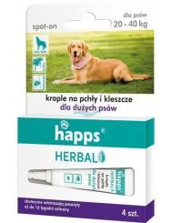 Happs Herbal Spot-On Krople na Pchły i Kleszcze dla Dużych Psów 20-40 kg (4 x 4 ml)