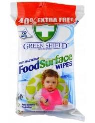 Green Shield Angielskie Antybakteryjne Chusteczki do Powierzchni Mających Styczność z Żywnością 70 szt