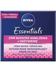 Nivea Essentials 24h Booster Nawilżenia Odżywienie Krem na Noc z Masłem Shea, Antyoksydantami i Pantenolem 50 ml
