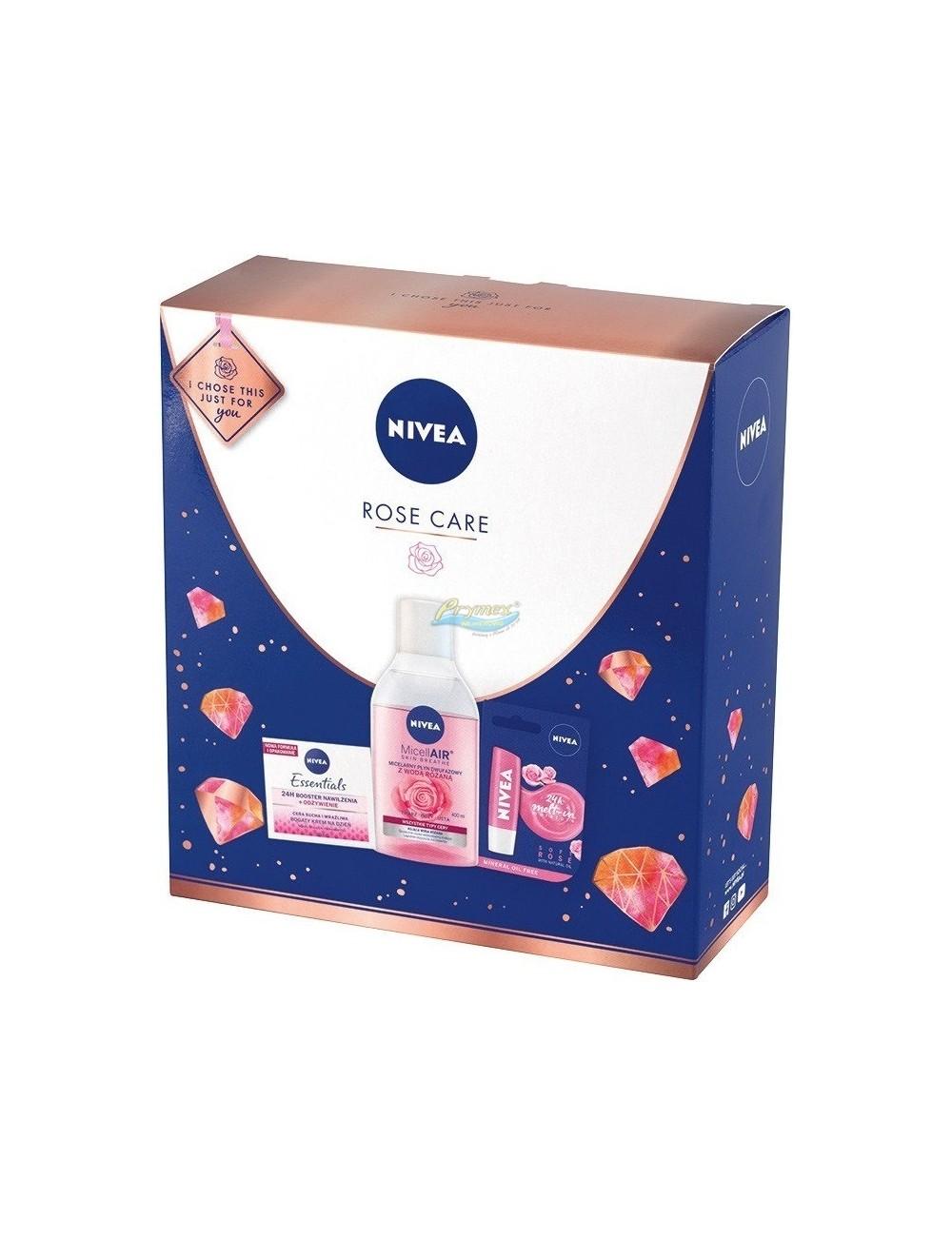 Nivea Rose Care Zestaw dla Kobiet – Płyn Micelarny Dwufazowy 400 ml + Krem na Dzień 50 ml + Pomadka do Ust