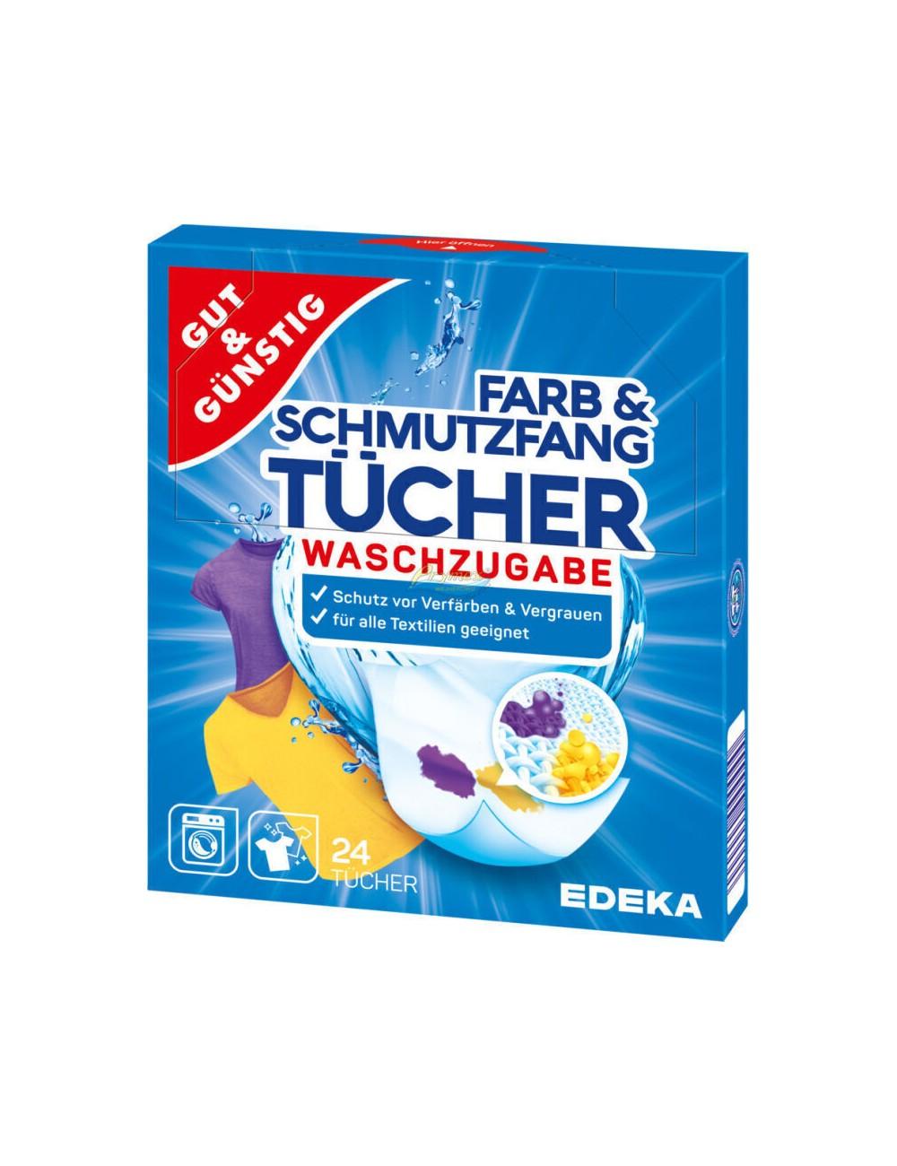 Gut & Günstig Chusteczki Wyłapujące Kolor Farb & Schmutzfang Tücher 24 szt (DE)
