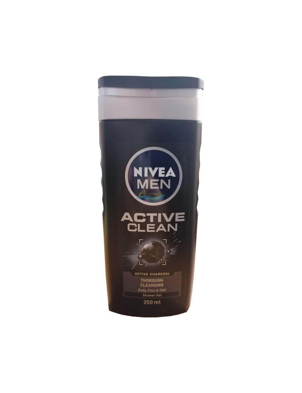 Nivea Żel pod Prysznic dla Mężczyzn 3-w-1 Active Clean 250 ml (UK)