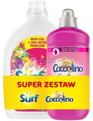 Surf Żel do Prania Tropical Lily & Ylang Ylang 2 L + Coccolino Płyn do Płukania Tkanin Tiare Flower & Red Fruits 1,45 L