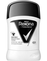 Rexona Invisible Black & White Antyperspirant w Sztyfcie dla Mężczyzn 50 ml