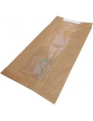Torby Papierowe Fałdowe z Okienkiem (15 x 6 x 28 cm) 250 szt