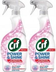 Cif Płyn Spray Antybakteryjny Power & Shine Zestaw (2x 750 ml)