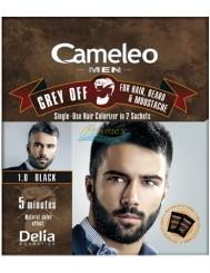 Cameleo Men Farba do Włosów i Brody dla Mężczyzn 1.0 Czarny Saszetka Grey Off 1 szt