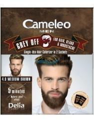 Cameleo Men Farba do Włosów i Brody dla Mężczyzn 4.0 Średni Brąz Saszetka Grey Off 1 szt