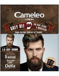 Cameleo Men Farba do Włosów i Brody dla Mężczyzn 5.0 Jasny Brąz Saszetka Grey Off 1 szt
