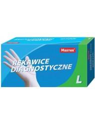 Master Rękawice Diagnostyczne Lateksowe Lekko Pudrowane (rozmiar L) 100 szt + Gratis Maseczki Ochronne Trzywarstwowe 5 szt