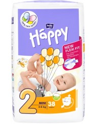 Bella Happy Pieluszki Jednorazowe dla Noworodków i Niemowląt Mini 3-6 kg (rozmiar 2) 38 szt