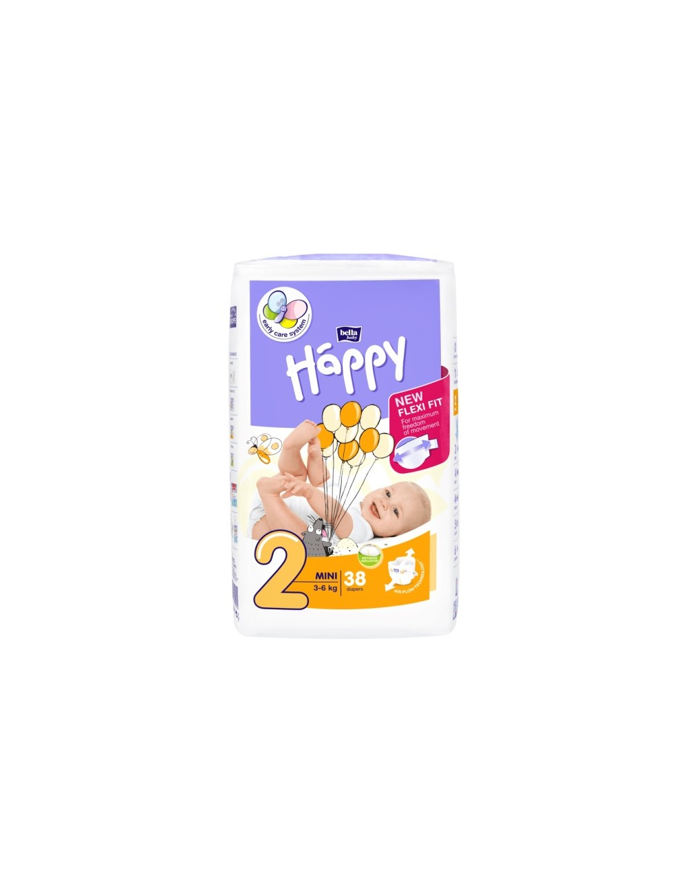 Bella Happy Pieluszki Jednorazowe dla Dzieci Mini 3-6 kg (rozmiar 2) 38 szt