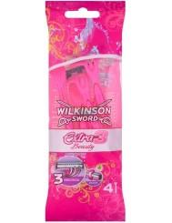 Wilkinson Sword Maszynki do Golenia dla Kobiet Jednorazowe z Trzema Ostrzami Extra3 Beauty 4 szt