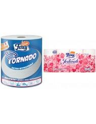 Foxy Ręcznik Papierowy Tornado Extra-wytrzymały 3-warstwowy Celuloza + Foxy Papier Toaletowy Jedwab - Zestaw ( 1 szt + 1 szt )
