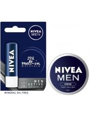 Nivea Pomadka Pielęgnująca SPF15 Men Active 4,8 g + Nivea Krem do Rąk z Woskiem Pszczelim Zestaw ( 1 szt + 75 ml )