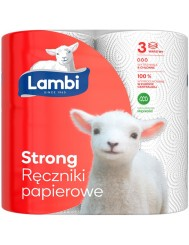 Lambi Ręczniki Papierowe 3-Warstwowe Celuloza Strong (2 rolki x 70 listków)