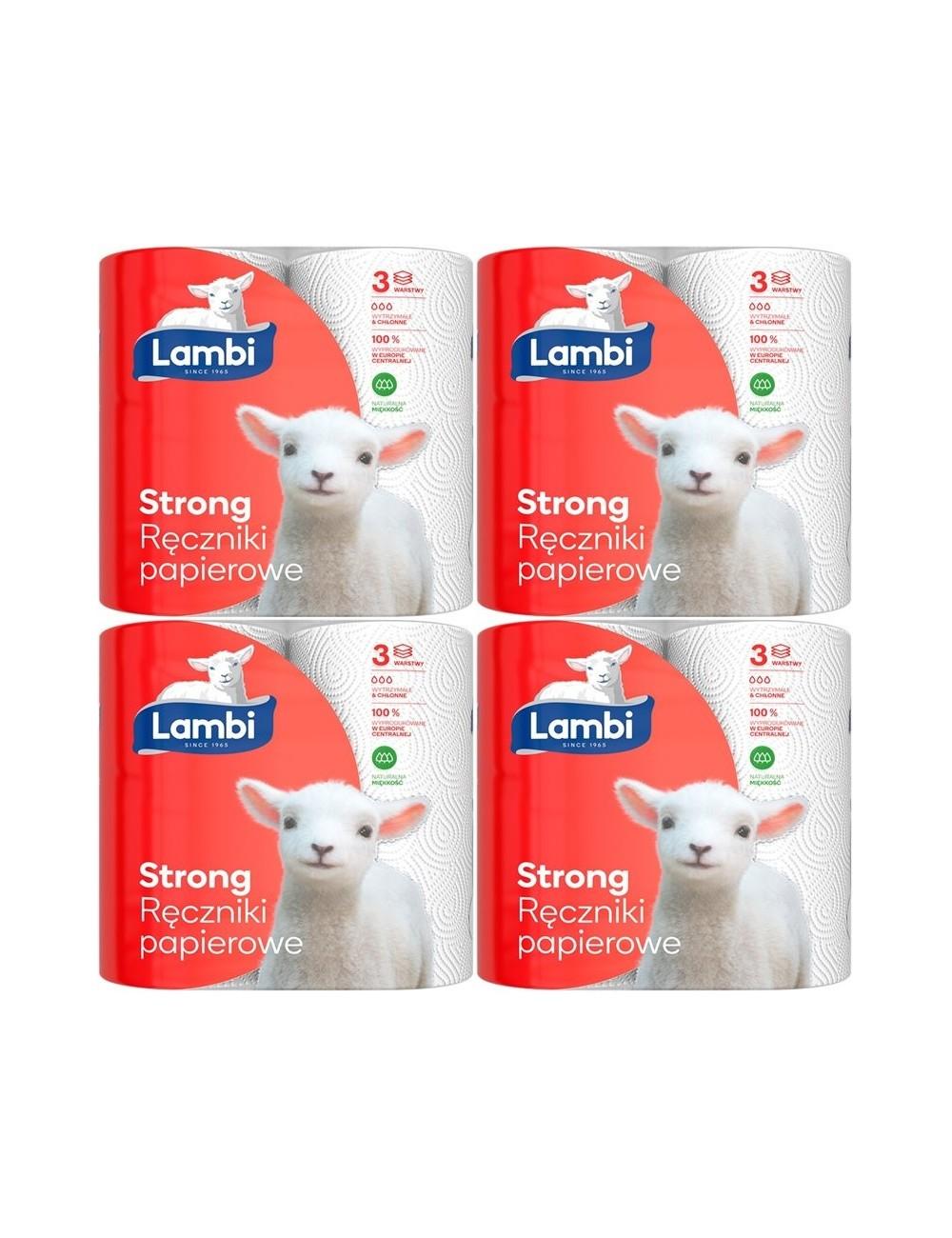 Lambi Ręczniki Papierowe 3-Warstwowe Celuloza Strong Zestaw (4x 2 rolki)