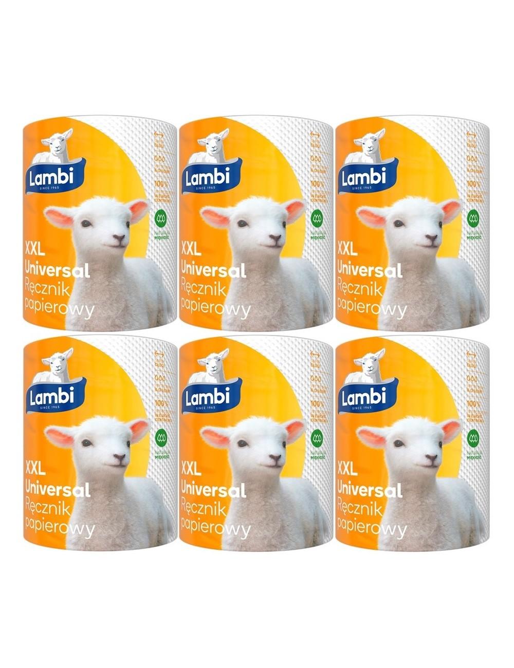 Lambi Ręcznik Papierowy 2-Warstwowy Celuloza Uniwersalny XXL Zestaw (6 rolek)