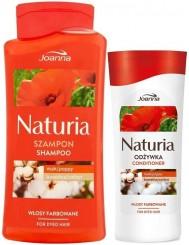 Joanna Szampon + Odżywka do Włosów Farbowanych Mak i Bawełna Naturia Zestaw (500 ml + 200 g)