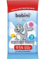 Bobini Kids Chusteczki Nawilżane dla Dzieci z Płynem Antybakteryjnym Oczyszczające Truskawka 15 szt