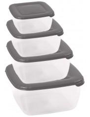 Pojemniki na Żywność Kwadratowy Zestaw ( 450 ml + 950 ml + 1,5 l + 2,5 l )
