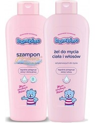 Bambino Szampon do Włosów dla Niemowląt i Dzieci + Żel do Mycia Ciała i Włosów Zestaw (2x 400 ml)