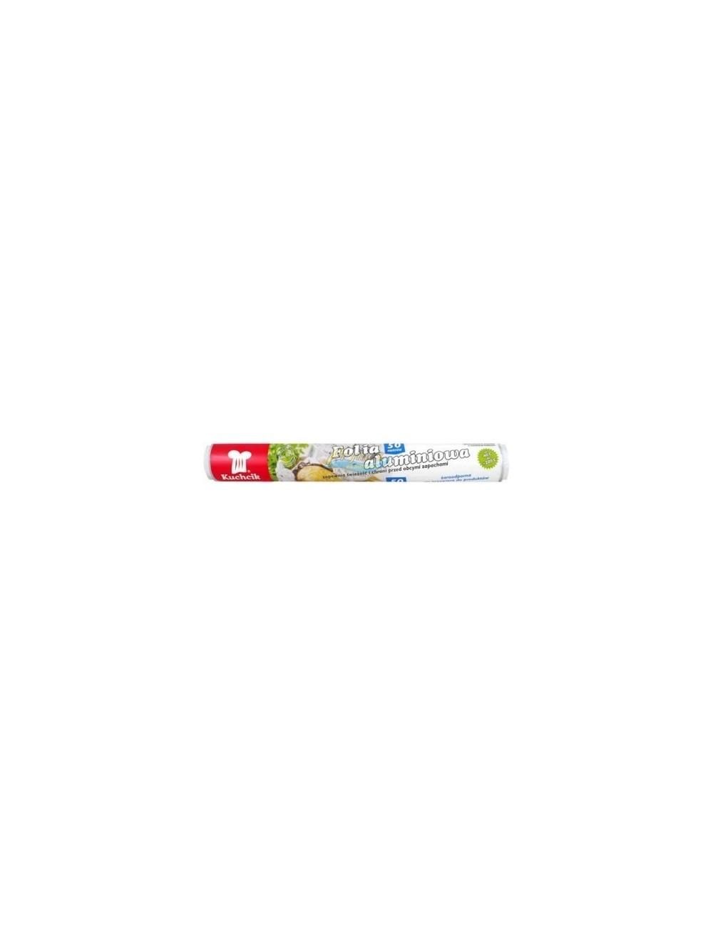 Folia Aluminiowa do Pieczenia i Pakowania Żaroodporna Nieprzywierająca (50 metrów) Kuchcik 1 rolka