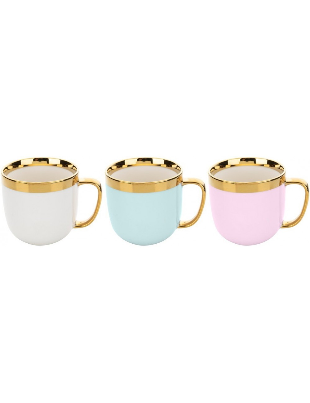 Kubek z Trwałej Ceramiki Wykończony Złotym Rantem oraz Uchem 530 ml Mix Kolorów Golden Ring Florina 1 szt