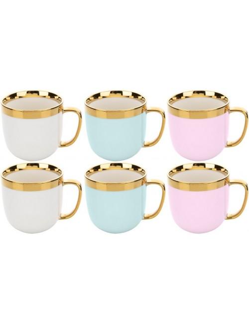 Kubki z Trwałej Ceramiki Wykończone Złotym Rantem oraz Uchem Mix Kolorów Golden Ring Florina Zestaw (6x 530 ml)