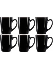 Kubki z Hartowanego Szkła z Uchem Czarne New Morning Luminarc Zestaw (6x 320 ml)