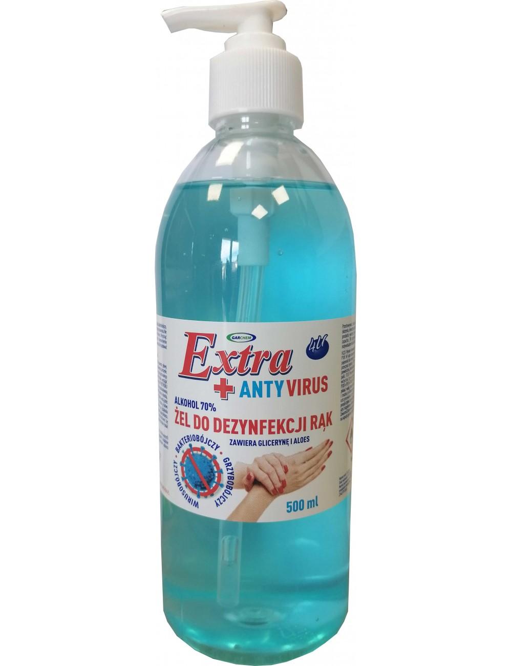 4U Żel do Dezynfekcji Rąk Wirusobójczy, Bakteriobójczy i Grzybobójczy z Gliceryną i Aloesem 500 ml - zawiera 70% alkoholu